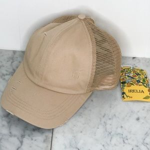 IRELIA BASEBALL HAT WITH LACE UP DETAILING IN TAN